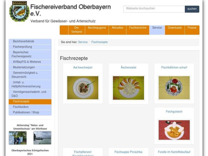 Screenshot von http://www.fischereiverband-oberbayern.de/?scope=service&action=serviceFischrezepte